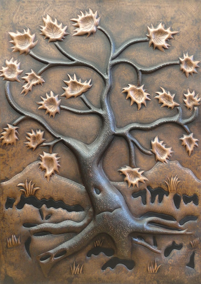 """Copper Mural Tree Of Life 24"""" X 36"""" 16 Gorgeous Patinas. Rutgers Logo. Vintage Car Decals. Design Mural Murals. Crime Banners"""