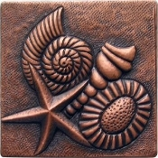 "Copper Tile 4"" Sealife"