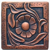 "Copper Tile 4"" Flowers"