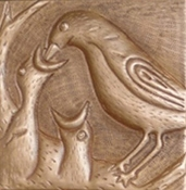 "Copper 4"" And 6"" Tile Feeding Birds"