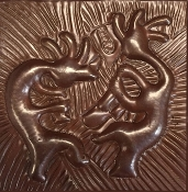 "Copper 4"" Tile Kokopelli"