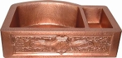 Copper Kitchen Vessel Double Bowl RD Back Sink 36""