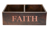 "Copper Kitchen Sink Double Bowl 33"" x 21"" Bible Sayings"