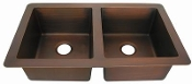 "Copper Kitchen Sink Double Bowl Undermount 40"" 42"" 44"""