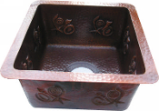 "Copper Bar Sink 15"" x 15"" Apron Front Designs"