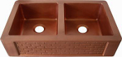 "Copper Kitchen Double Bowl Sink 30"" 33"" 36"""
