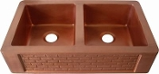 "Copper Kitchen Double Bowl Sink 40"" x 23"""