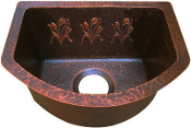 "Copper Bar Sink 16"" x 12"" Rounded Front"
