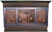CRH-010 Copper Range Hood. Copper Mural And Tiles Added.