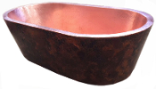 "BT-006 38"" Copper Double Wall Oval Bath Tub"
