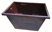 "Copper Bath Tub 12 Gauge Rectangle Drop In 32"" Wide With Seat"