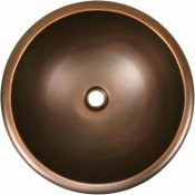Copper Round Oval Lavatory Sinks Smooth Or Hand Hammered