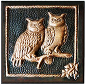 "Copper Tile 4"" CT-136 Owls"
