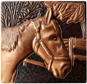 "Copper 4"" Tile Horse #3"