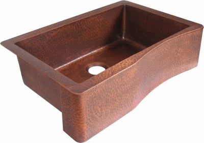 Copper kitchen single bowl sink wave front 33 16 patina finishes workwithnaturefo